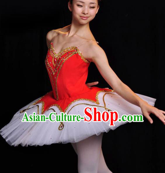 Professional Ballet Dance Costume Ballroom Dance Stage Show Red Dress for Women