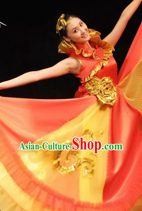 Professional Modern Dance Costume Ballroom Dance Stage Show Red Dress for Women