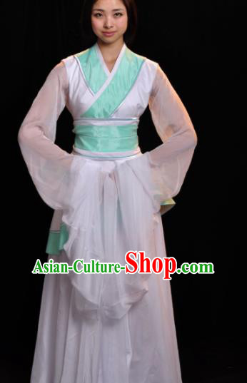 Traditional Chinese Classical Dance White Costumes Umbrella Dance Stage Show Dress for Women