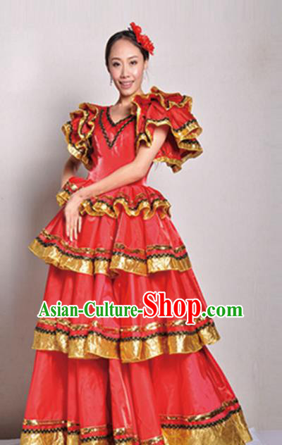Professional Modern Dance Chorus Costume Opening Dance Stage Show Red Dress for Women