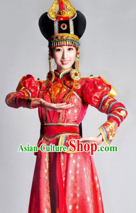 Traditional Chinese Mongolian Nationality Red Costume Mongol Ethnic Dance Stage Show Dress for Women
