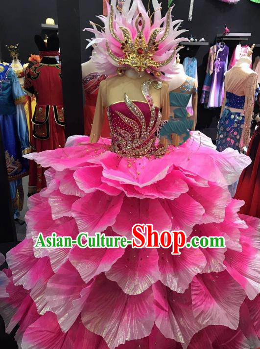 Traditional Chinese Spring Festival Gala Peony Dance Pink Dress Classical Dance Stage Show Costume for Women