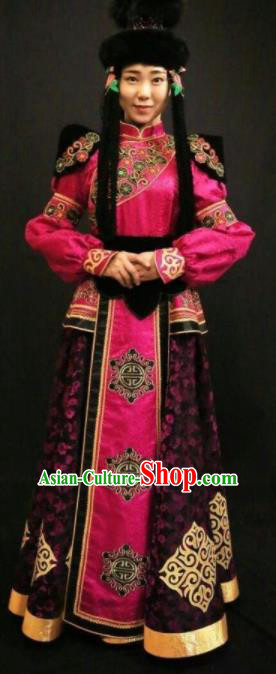 Traditional Chinese Mongol Nationality Rosy Dress Mongolian Ethnic Dance Stage Show Costume for Women