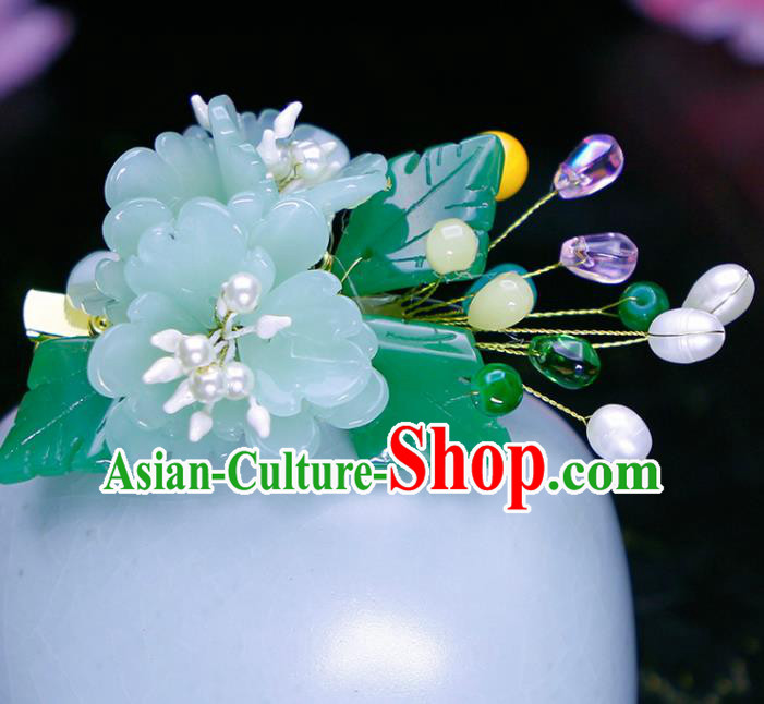 Chinese Traditional Hanfu Light Green Peony Hair Claw Ancient Princess Hair Accessories for Women