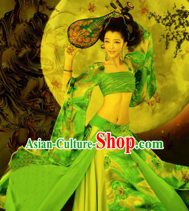 Chinese Traditional Dance Costumes Ancient Imperial Consort Green Dress for Women