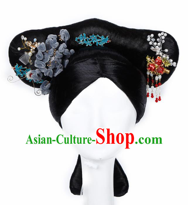 Chinese Traditional Qing Dynasty Imperial Concubine Wigs and Hairpins Ancient Imperial Consort Hair Accessories for Women