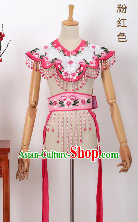 Chinese Traditional Beijing Opera Diva Accessories Pink Shoulder Cape and Belt for Women