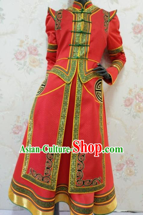 Traditional Chinese Mongol Nationality Stage Show Red Dress Mongolian Ethnic Dance Costume for Women