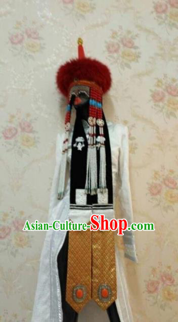 Traditional Chinese Mongol Nationality Hair Accessories Mongolian Ethnic Red Fur Hat for Women