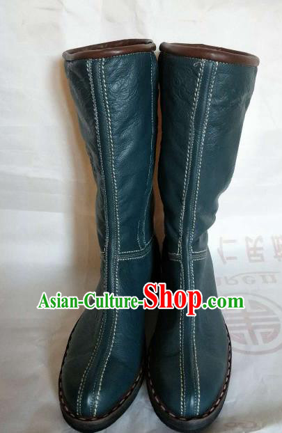 Chinese Traditional Mongol Nationality Green Boots Mongolian Ethnic Leather Riding Boots for Men