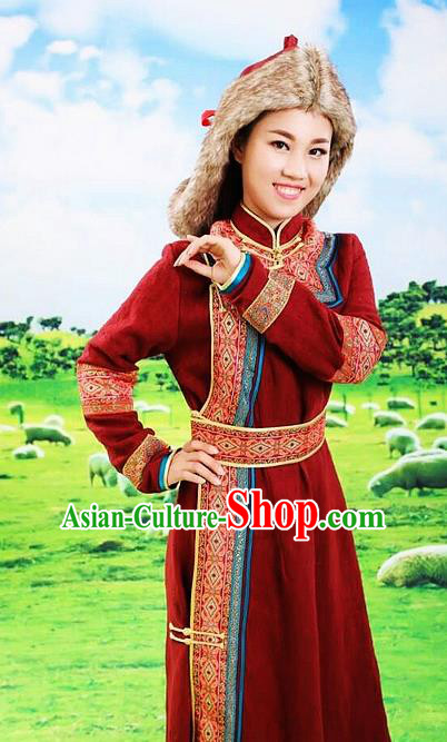 Traditional Chinese Mongol Nationality Stage Show Red Dress and Hat Mongolian Ethnic Dance Costume for Women