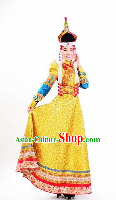Traditional Chinese Mongol Nationality Wedding Yellow Dress and Hat Mongolian Ethnic Dance Costume for Women