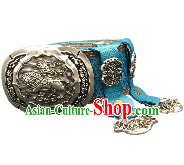 Traditional Chinese Mongol Nationality Blue Leather Belt Mongolian Ethnic Cupronickel Waistband for Men