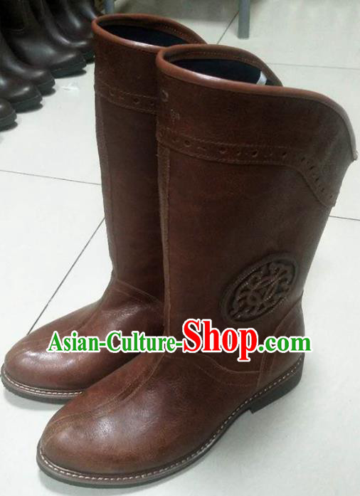 Chinese Traditional Mongol Nationality Reddish Brown Boots Mongolian Ethnic Leather Riding Boots for Men