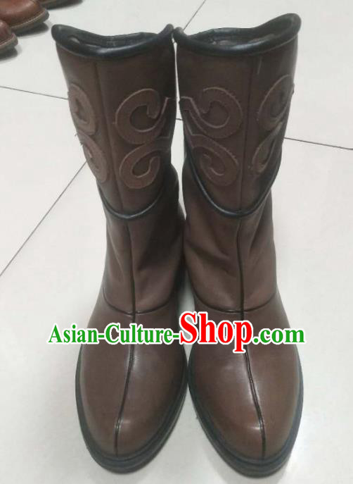 Chinese Traditional Mongol Nationality Brown Boots Mongolian Ethnic Stage Show Leather Riding Boots for Men