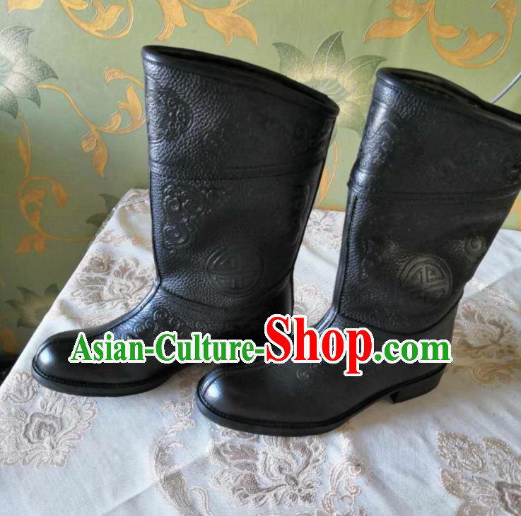 Chinese Traditional Mongol Nationality Black Boots Mongolian Ethnic Stage Show Leather Riding Boots for Men