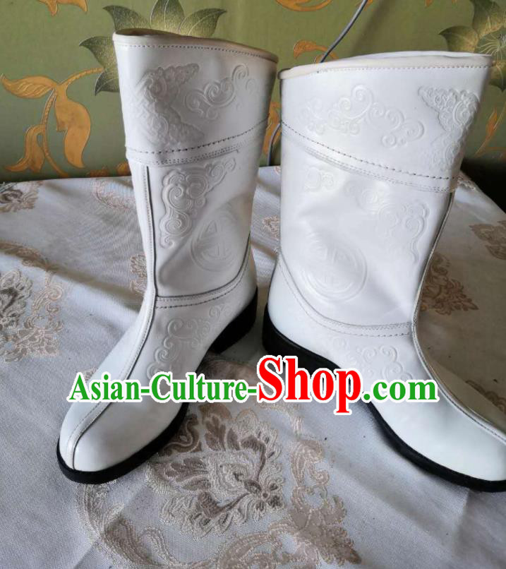 Chinese Traditional Mongol Nationality White Boots Mongolian Ethnic Stage Show Leather Riding Boots for Men