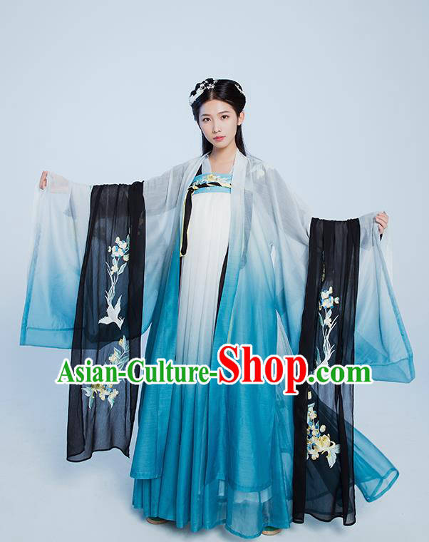 Asian Chinese Tang Dynasty Palace Princess Hanfu Dress Traditional Ancient Peri Fairy Costumes for Women