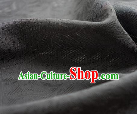 Traditional Chinese Classical Rohdea Pattern Design Deep Grey Silk Fabric Ancient Hanfu Dress Silk Cloth