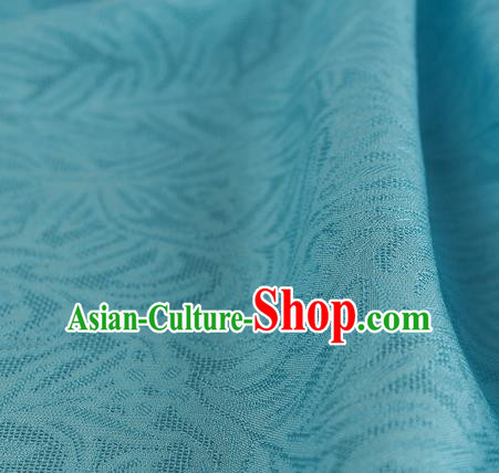Traditional Chinese Classical Rohdea Pattern Design Light Blue Silk Fabric Ancient Hanfu Dress Silk Cloth