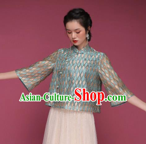 Chinese Traditional Tang Suit Green Blouse National Shirt Upper Outer Garment Costume for Women