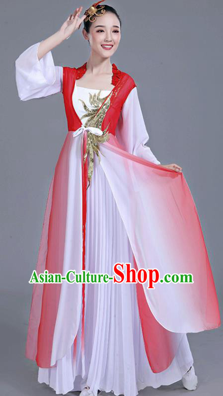 Chinese Traditional Umbrella Dance White Dress Classical Dance Round Fan Dance Costume for Women