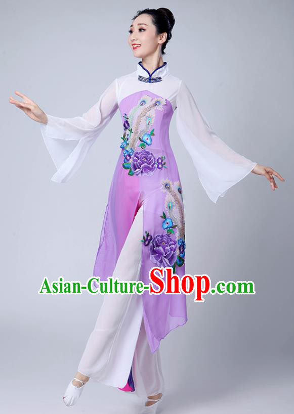 Chinese Traditional Umbrella Dance Stage Show Purple Dress Classical Dance Fan Dance Costume for Women