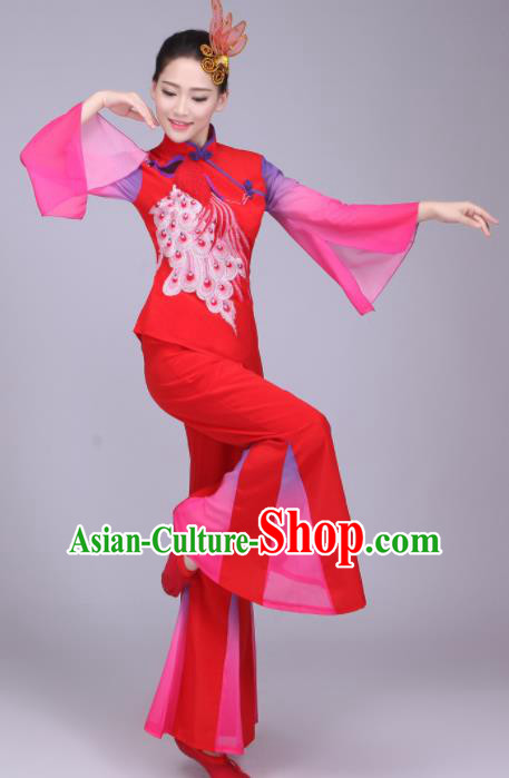 Chinese Traditional Folk Dance Fan Dance Red Outfits Yangko Group Dance Costume for Women
