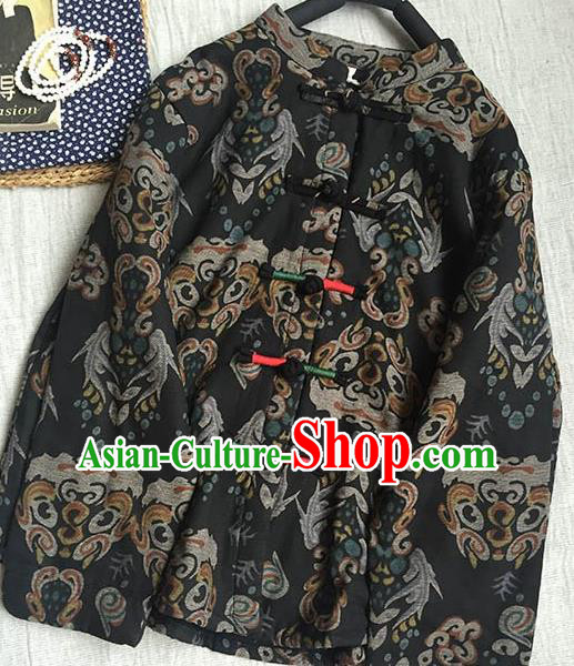 Chinese Traditional Tang Suit Printing Black Cotton Wadded Jacket National Upper Outer Garment Costume for Women