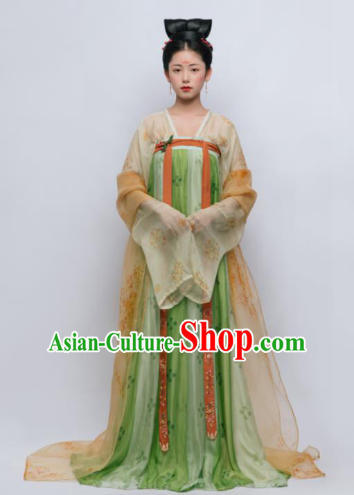 Traditional Chinese Ancient Court Lady Green Hanfu Dress Tang Dynasty Royal Princess Replica Costume for Women