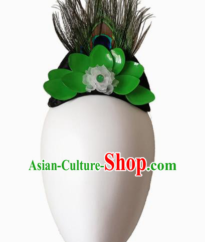 Traditional Chinese Classical Dance Southeast the Peacock Flies Hair Accessories Fan Dance Wig Chignon Headdress for Women
