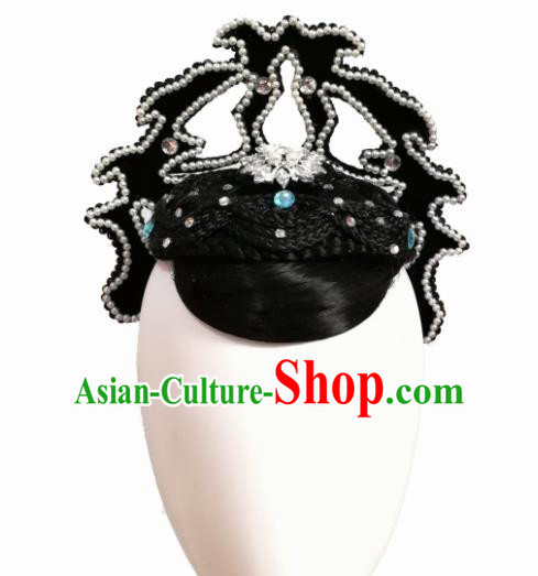 Traditional Chinese Classical Dance Dian Jiang Chun Hair Accessories Fan Dance Wig Chignon Headdress for Women