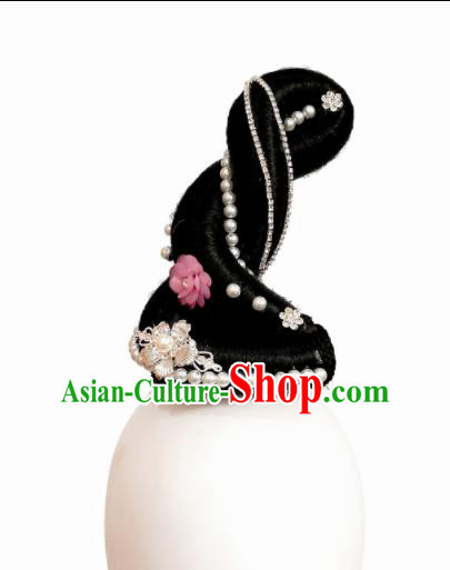Traditional Chinese Classical Dance Butterfly Lovers Hair Accessories Fan Dance Wig Chignon Headdress for Women