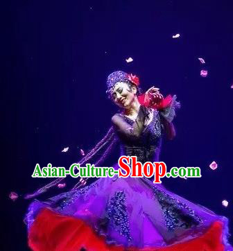 Chinese Traditional Ethnic Dance Dress Uyghur Nationality Dance Costume for Women
