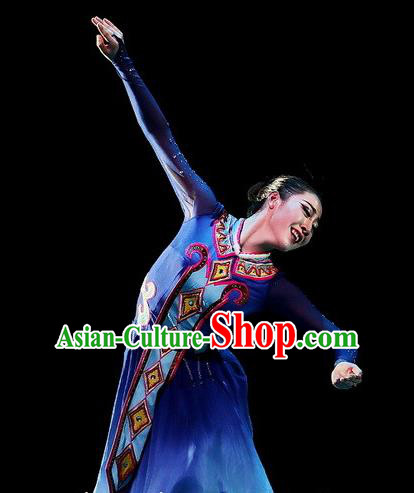 Chinese Traditional Ewenki Ethnic Dance Dress Owenk Nationality Dance Costume for Women