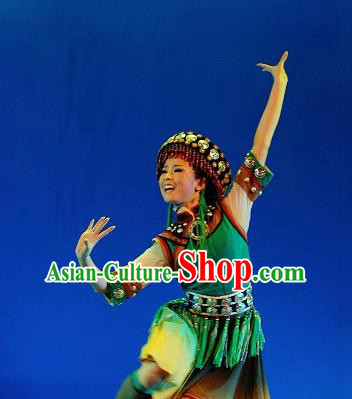 Chinese Traditional Dai Ethnic Dance Green Dress Nationality Dance Costume for Women