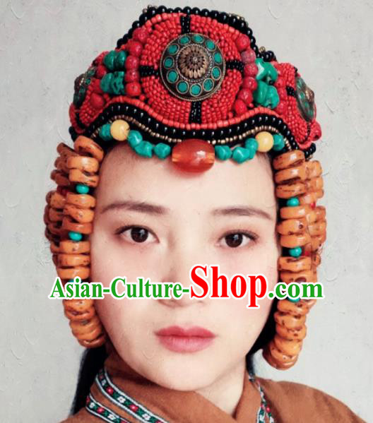 Chinese Traditional Zang Ethnic Hat Hair Accessories Tibetan Nationality Headwear for Women