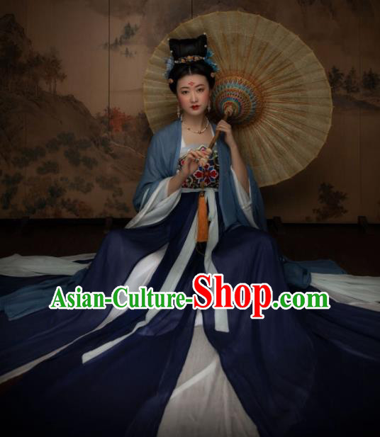 Chinese Ancient Imperial Concubine Embroidered Hanfu Dress Traditional Tang Dynasty Crown Princess Replica Costume for Women