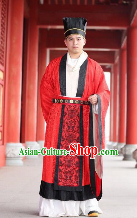 Chinese Ancient Tang Dynasty Bridegroom Hanfu Clothing Traditional Wedding Replica Costume for Men