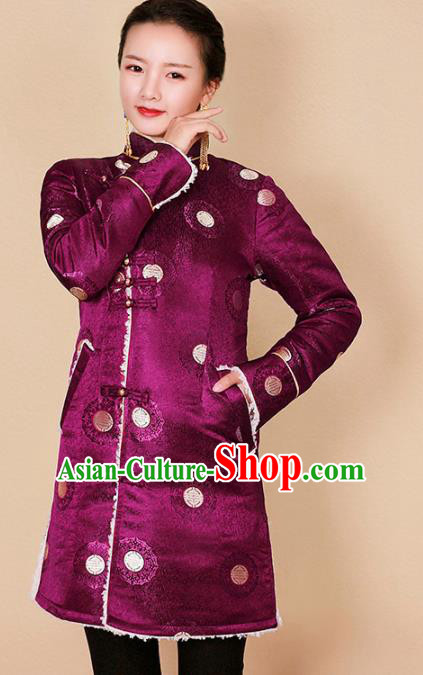 Traditional Chinese Zang Ethnic Purple Cotton Padded Jacket Tibetan Minority Upper Outer Garment Winter Costume for Women