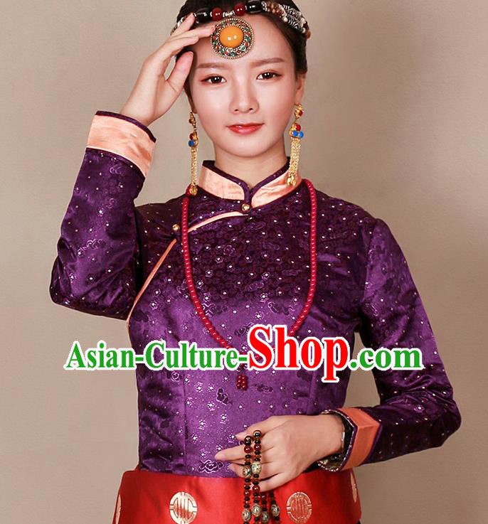 Traditional Chinese Zang Ethnic Purple Blouse Tibetan Minority Upper Outer Garment Costume for Women