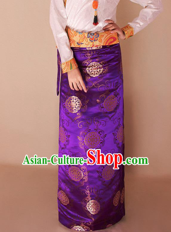 Traditional Chinese Zang Ethnic Purple Brocade Skirt Tibetan Minority Folk Dance Costume for Women