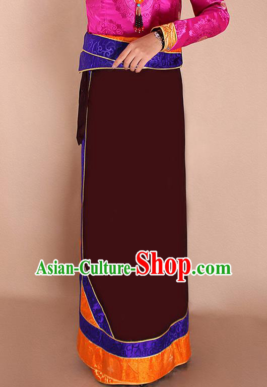 Traditional Chinese Zang Ethnic Dark Red Bhutan Skirt Tibetan Minority Folk Dance Costume for Women
