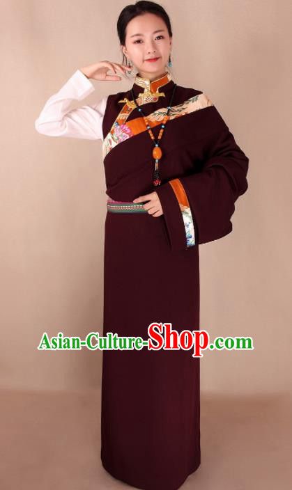 Traditional Chinese Zang Ethnic Dark Red Kangba Robe Tibetan Minority Folk Dance Costume for Women