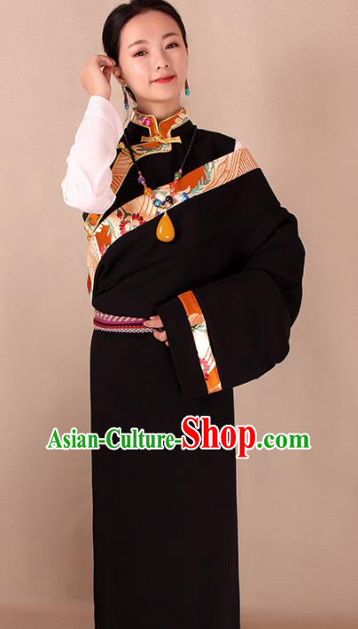 Traditional Chinese Zang Ethnic Black Kangba Robe Tibetan Minority Folk Dance Costume for Women