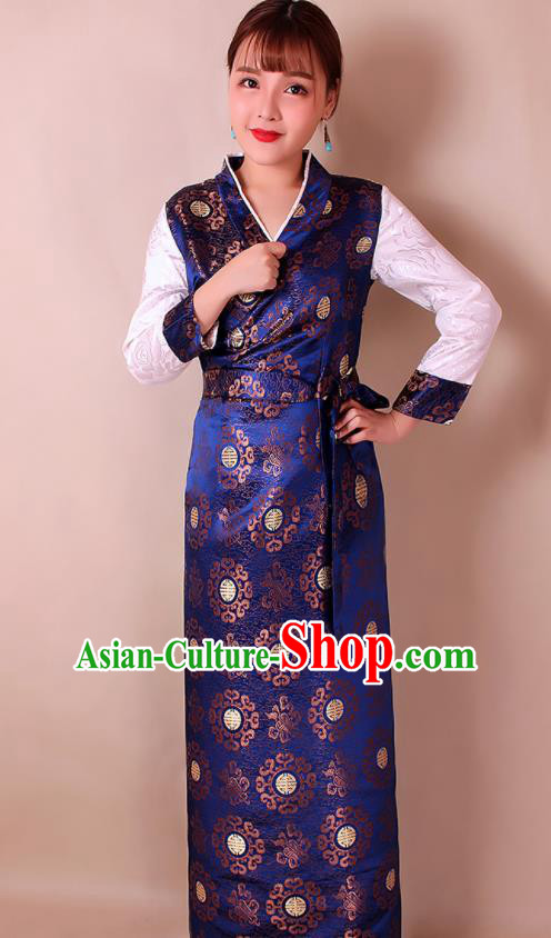 Traditional Chinese Zang Ethnic Royalblue Brocade Bora Dress Tibetan Minority Folk Dance Costume for Women