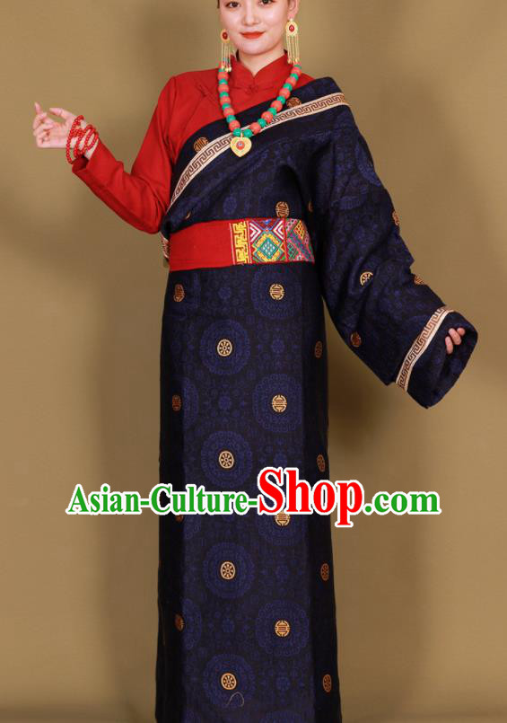 Traditional Chinese Zang Ethnic Guozhuang Navy Robe Tibetan Minority Folk Dance Costume for Women