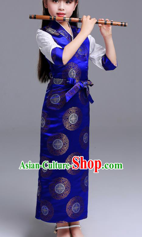 Traditional Chinese Zang Ethnic Girls Royalblue Dress Tibetan Minority Folk Dance Costume for Kids