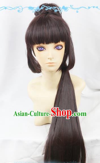 Chinese Traditional Cosplay Fairy Brown Hair Wigs Ancient Female Swordsman Wig Sheath Hair Accessories for Women
