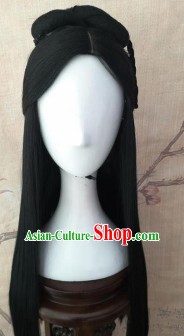 Chinese Traditional Cosplay Princess Wigs Ancient Palace Lady Wig Sheath Hair Accessories for Women